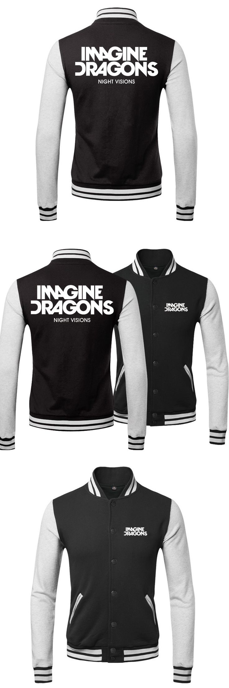hot sell 2015 imagine dragons band simple autumn and winter warmth insider lover`s baseball uniform cardigan fleece Hoodie