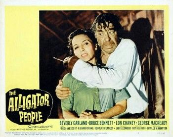 """Beverly Garland & Lon Chaney Jr. in """"The Alligator People"""" • Lobby Card"""