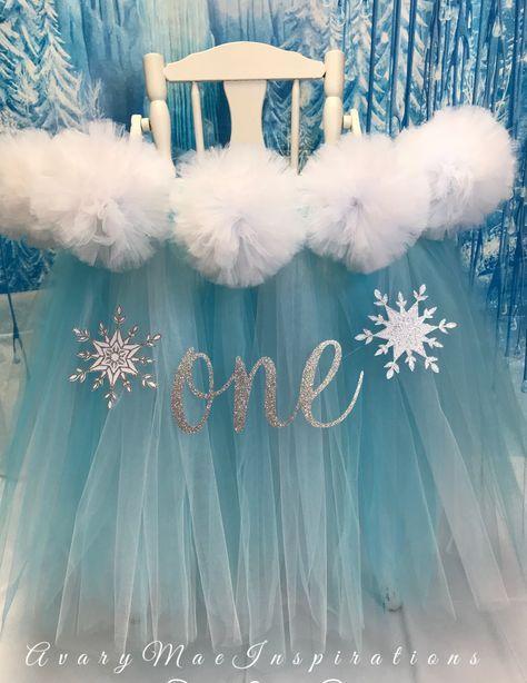 Frozen Winter Onederland High Chair Tutu, High Chair Skirt, Highchair Tutu, OnderLand Birthday Party, Frozen First Birthday, Snow Princess by AvaryMaeInspirations on Etsy