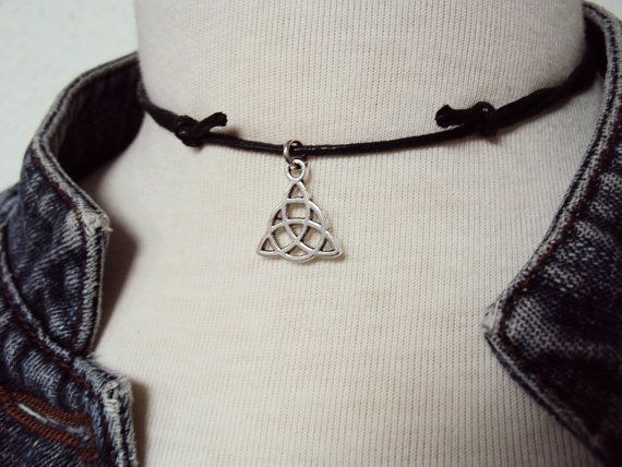 Triquetra Necklace  Triquetra Choker  Wiccan by GrungeForever https://www.etsy.com/uk/listing/210649272/triquetra-necklace-triquetra-choker