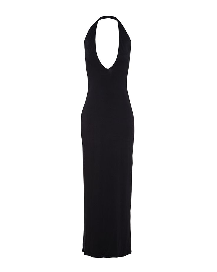 Deep v- neck maxi dress in black, available at  Stuttafords stores South Africa