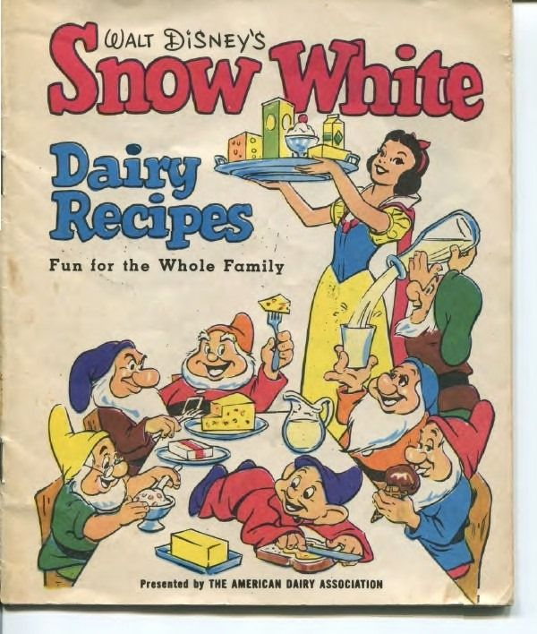 This week Snow White sells us dairy products, mock turtle soup is rolled up in beef, you can dial-a-drink, and Veg-All and Velveeta finally get together! In an omelet! Vintage 1955 Walt Disney Snow…