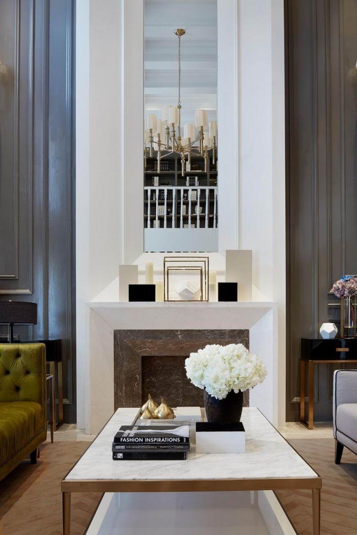 Fireplace decoration in a living room #homedecorideas #winterdecoration #falltrends