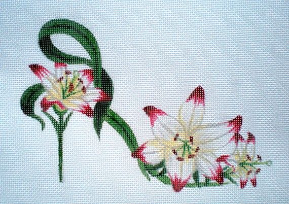 Lipstick Lily Slipper needlepoint canvas by colors1 on Etsy