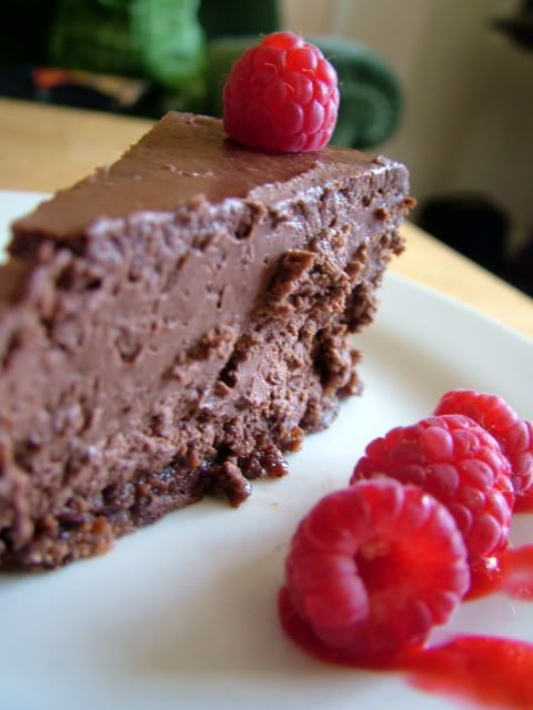 Chocolate Amaretto Cheesecake with raspberry sauce - Rich and delicious!