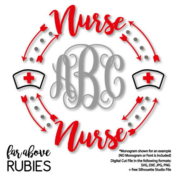 144 best nurse stuff images on pinterest nursing my world and nursing nurse with hat red cross monogram wreath monogram not included svg dxf png jpg digital cut file for silhouette or cricut fandeluxe
