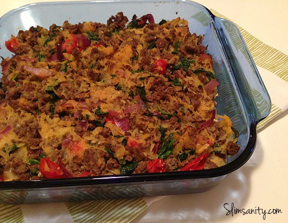 Slim Sanity: Paleo Spaghetti Squash Casserole, I would leave out the tomatoes and add some paleo pesto. Looks good Would also be good with sausage