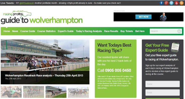 Our 2nd website launched in September 2012 - WolverhamptonRacecourseTips.co.uk
