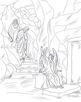 Angel Tells The Women That Jesus Has Risen Coloring Page From Resurrection Category Select 23049 Printable Crafts Of Cartoons Nature Animals