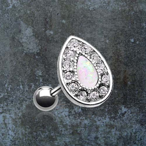 "Opal tragus earring, cartilage earring with white opal teardrop and crystals. 316L surgical steel barbell piercing is 16 gauge with a 1/4"" (6mm) long post. The synthetic opal and tragus cartilage earr"