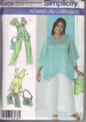 Simplicity Sewing Pattern 4556 Khaliah Ali Plus Size GG 26W-32W Ladies Tunic Pants Purse Bag Uncut