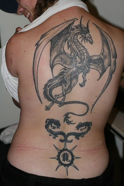 large dragon on her back #tattoos
