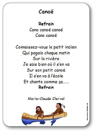 Chanson Canoë Marie-Claude Clerval, comptine canoë