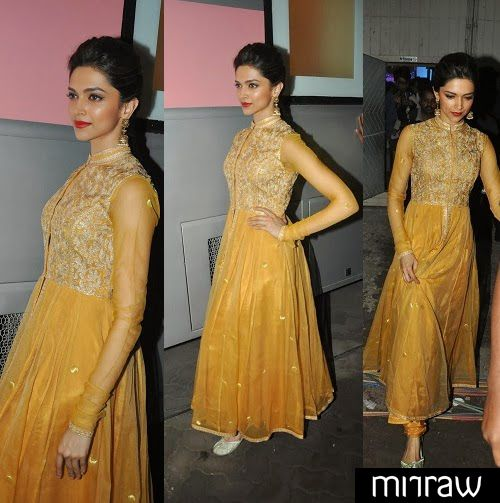 Deepika padukone in golden anarkali churidar suit