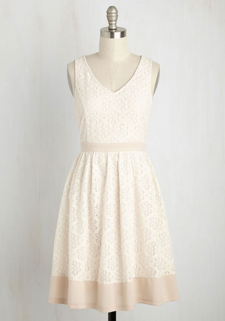 Effusive Elegance Dress. Indulge in loveliness each time you spin onto the scene in this ivory A-line! #white #modcloth