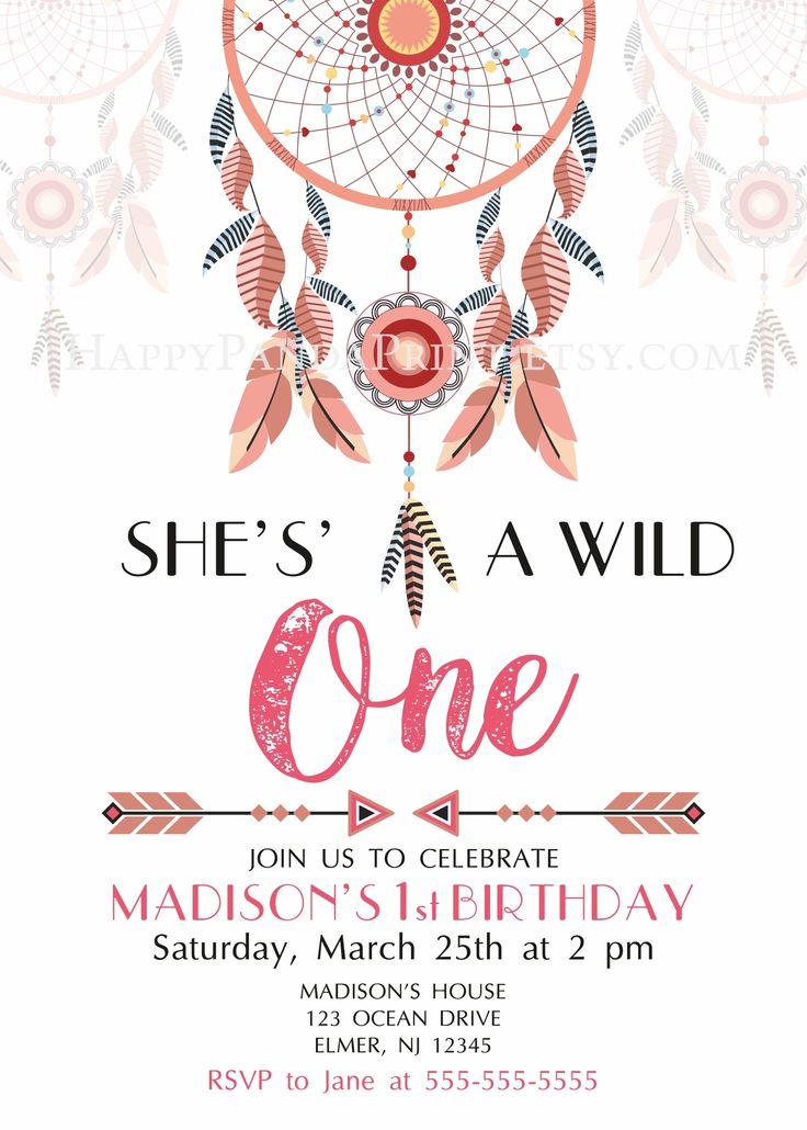 Wild One Invitation, Wild One Birthday Party, Wild One Invite, Girl Wild One Boho Invitation, Wild One Printables, Boho Dream Catcher Birthday, Dream Catcher Invitation, She is a wild one invitation #wildone #birthday #invitations #children #kids