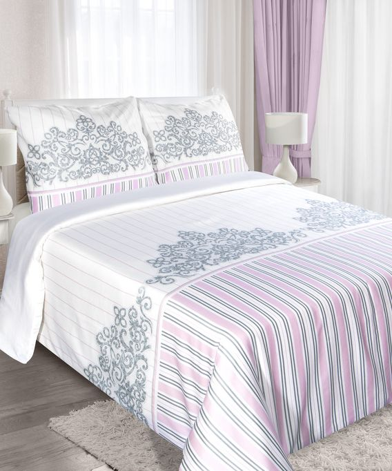 Różowo biała pościel bawełniana w stylu VINTAGE