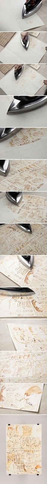 Draw with milk on paper, let dry for 30 minutes, and then iron to reveal!