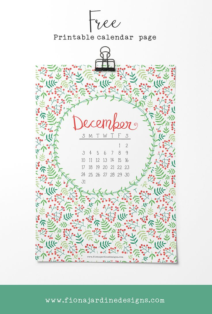 Free Printable December Calendar Page — Fiona Jardine Designs