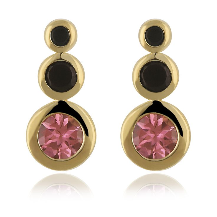 Lilvana Earrings. Glossy 14 karat yellow gold with 4 faceted black onyx - 0.26 carat and 2 faceted pink tourmaline - 0.66 carat.