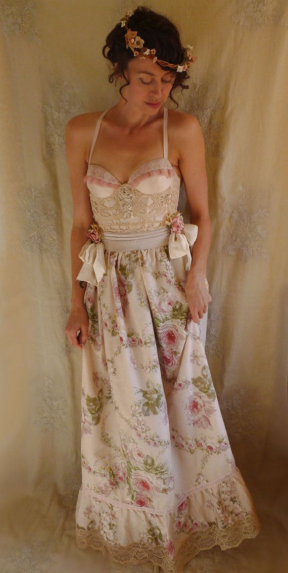 Bohemia Bustier Gown...wedding dress whimsical by jadadreaming