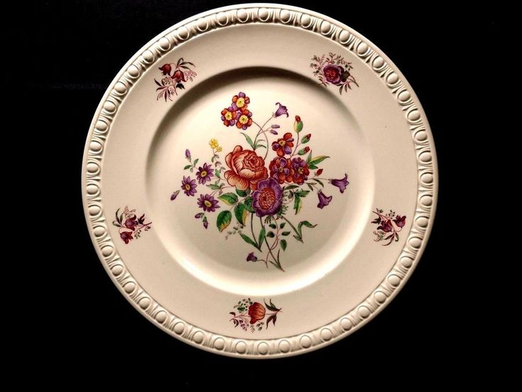 "Copeland Spode Dinner Plate 10 3/4"" CENTURION Flowers Vintage Earhenware China"