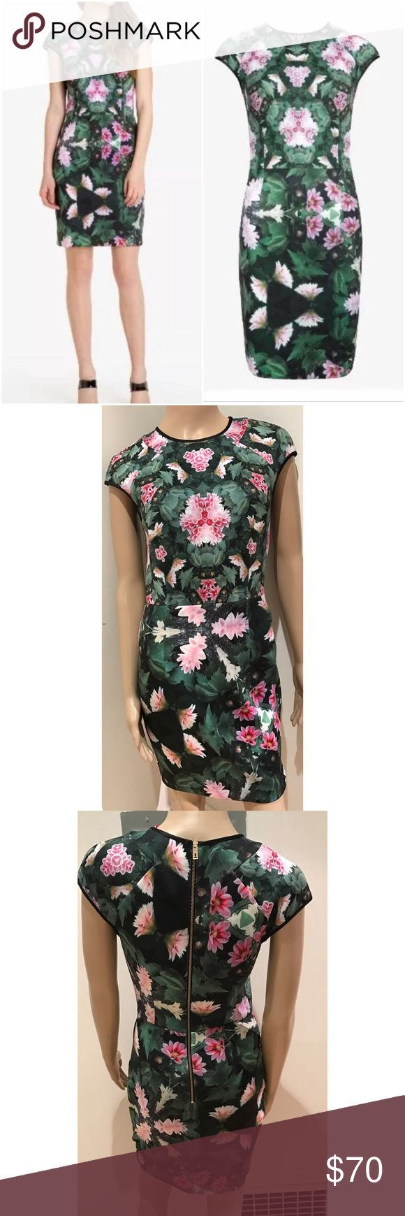 """EUC Ted Baker Friyo Geometric Floral Bodycon Dress Gorgeous Bodycon dress from Ted Bake London in UK 1, US Size 4. No flaws. Stretch to the dress so might go up to a small to medium size person (4-6). Measure about 34"""" length, 13"""" waist, 16"""" pit to pit. 88% polyester / 12% elastane ❌No trades or modeling. Open to reasonable offers. Thank you‼ Ted Baker London Dresses Midi"""
