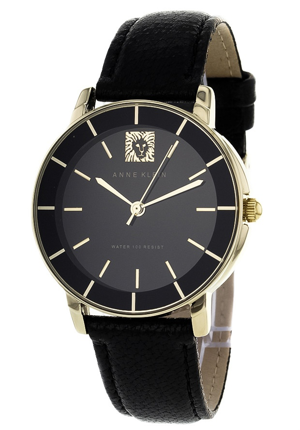 Price:$42.38 #watches Anne Klein AK-1058BKBK, Stainless steel case, Leather strap, Black dial, Quartz movement, Scratch-resistant mineral, Water resistant up to 3 ATM - 30 meters - 100 feet