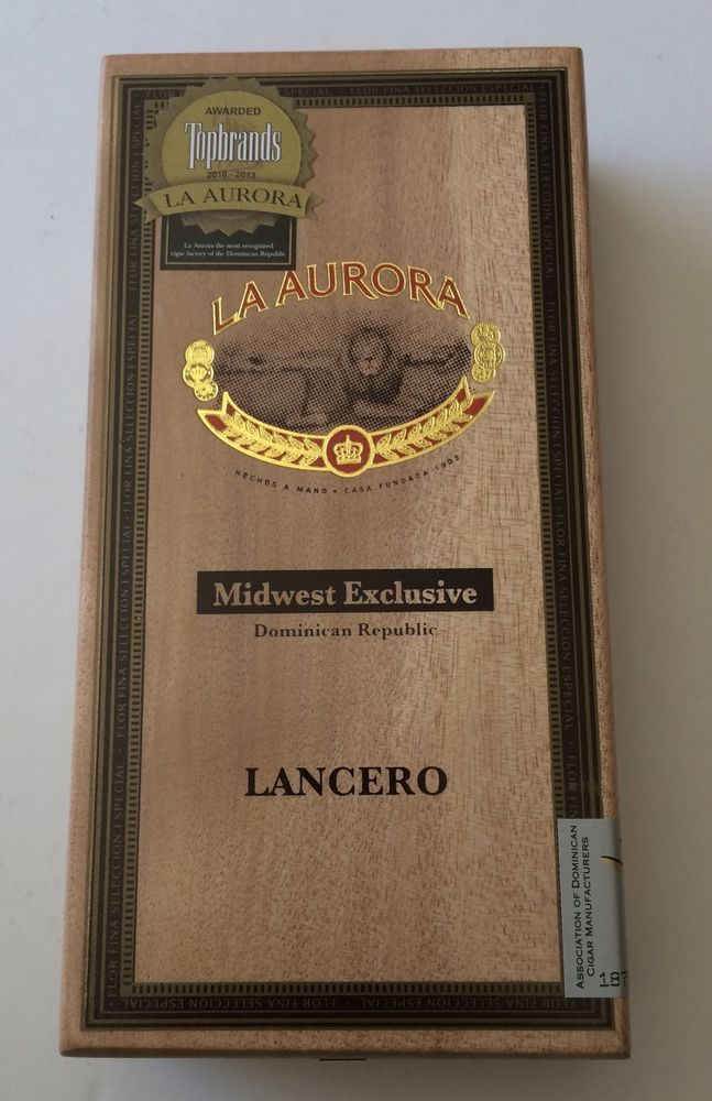 Wood Cigar STASH Box La Aurora Midwest Exclusive EMPTY Hinged Lid Storage Stash