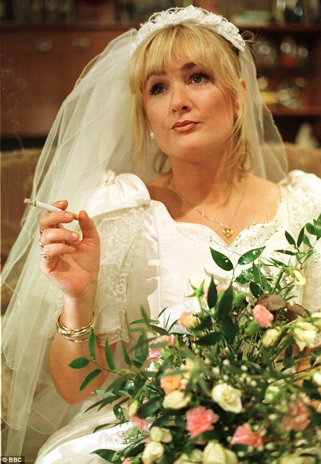 Royle Wedding: Caroline in her wedding dress in a scene from The Royle Family in 1999...