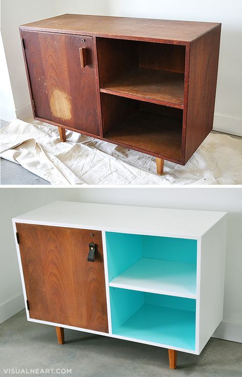 Before and After: Mid-Century Modern Cabinet – alte Möbel,neues Leben