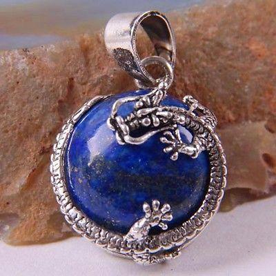 New Free Shipping Natural Stone Blue Lapis Round Bead Dragon Pendant 1Pcs PK1900