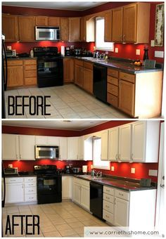 Don't have enough money to replace your kitchen cabinets? That's okay--you can paint them instead! This step-by-step tutorial shows you how! How to paint cabinets from CarrieThisHome.com