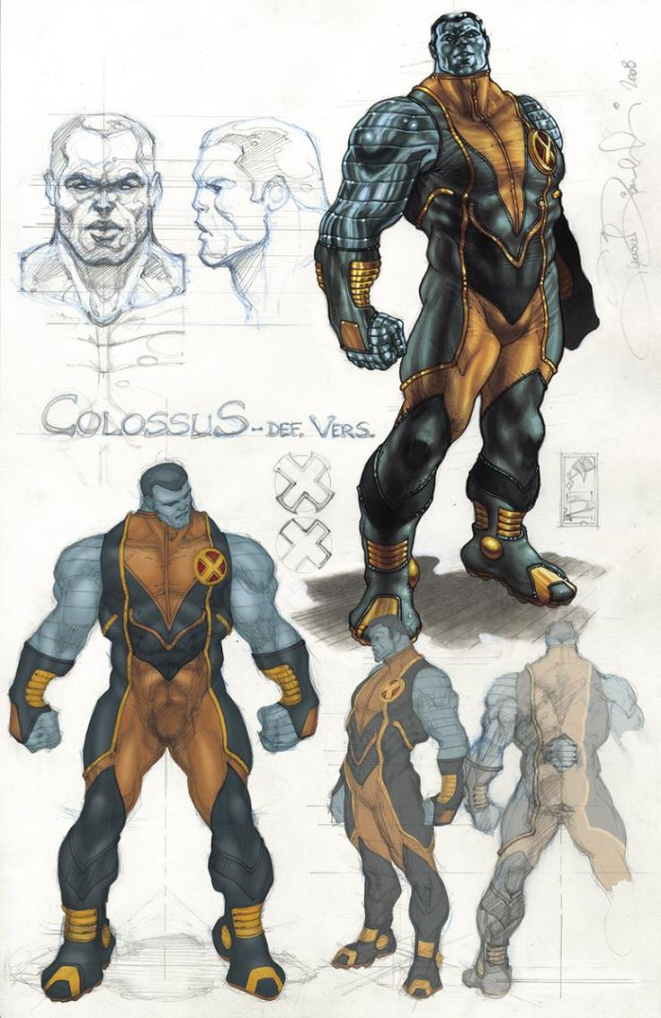 Character sketches for the X-Men's Colossus, by Simone Bianchi