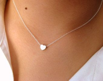 Little Dainty Necklace withTiny open Heart – pendant necklace – heart necklace – minimalist
