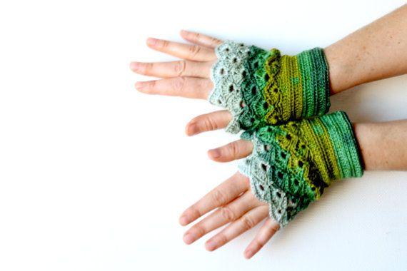 Handmade Fingerless Crochet Gloves / St. Patric's Day by gloveshop, $30.90