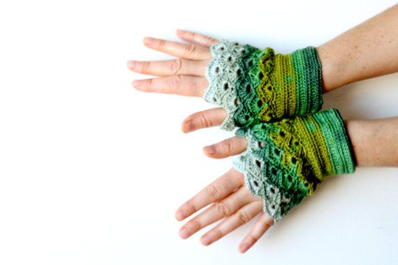 Handmade Fingerless Crochet Gloves / St. Patric's Day by gloveshop, $30.90