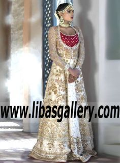 """Attractive Bridal Gown Dress with Marvelous Embellishments for Reception and Special Occasions -""""Rich and romantic.fall in love with the gorgeous jewel Style of the Gown.hues + whispers of romance. www.libasgallery.com Online Shopping #UK #USA #Canada #Australia #France #Germany #SaudiArabia #Bahrain #Kuwait #Norway #Sweden #NewZealand #Austria #Switzerland #Denmark #Ireland #Mauritius #Netherland #Bride #Gown #Lehenga #OccasionDress #latest 💕 #newcollection #WeddingDress #bestlook…"""