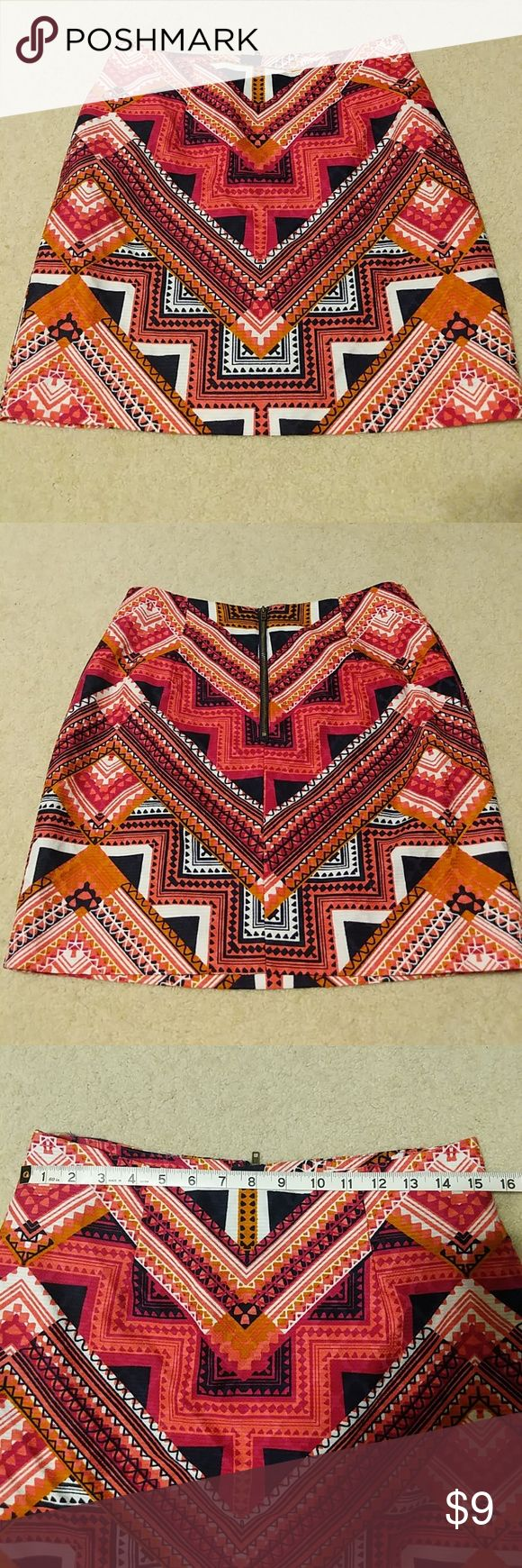 🍀Merona Aztec print skirt Adorable Aztec print skirt! Perfect length for work. Looked great with a turtle neck and knee high boots! Merona Skirts