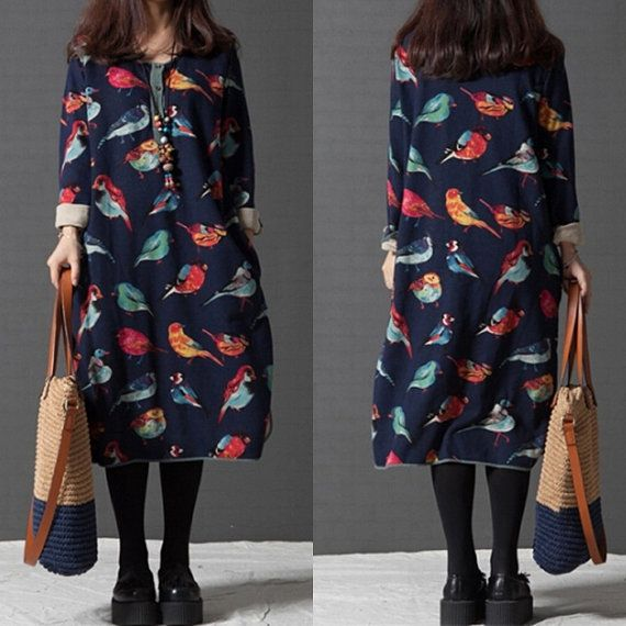 I have no idea why, but I kind of like this: Cotton Women  loose printed long-sleeved dress  by qinbailiang