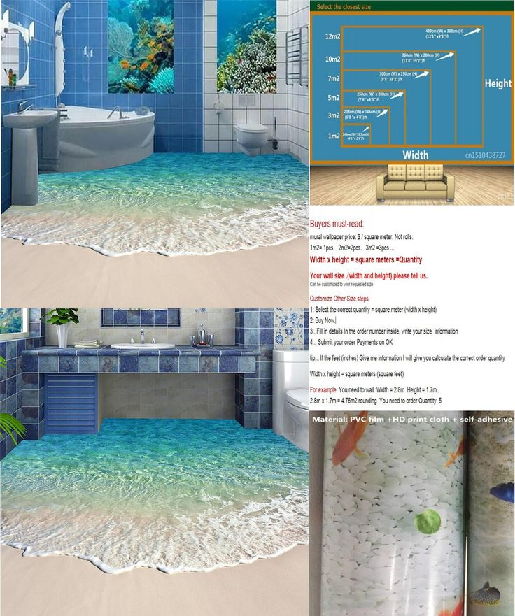 [Visit to Buy] Modern Floor painting HD blue sea reef scenery Waterproof Bathroom kitchen balcony PVC Wall paper Self wall sticker Floor mural #Advertisement