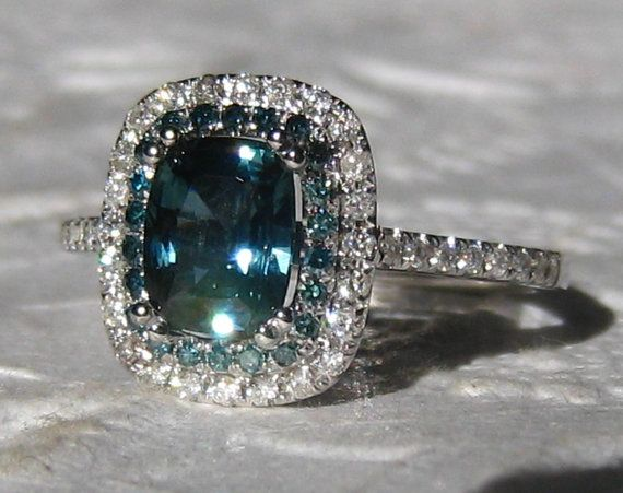 1 4 Carat Untreated Teal Blue Shire And Diamonds In White Gold Diamond Halo Engagement Ring