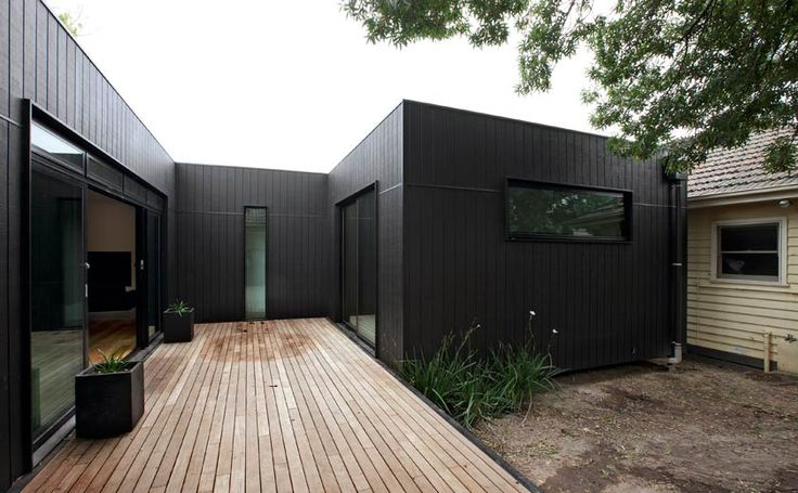 Black shadowclad extension on existing weatherboard home. Modscape project - Box Hill.