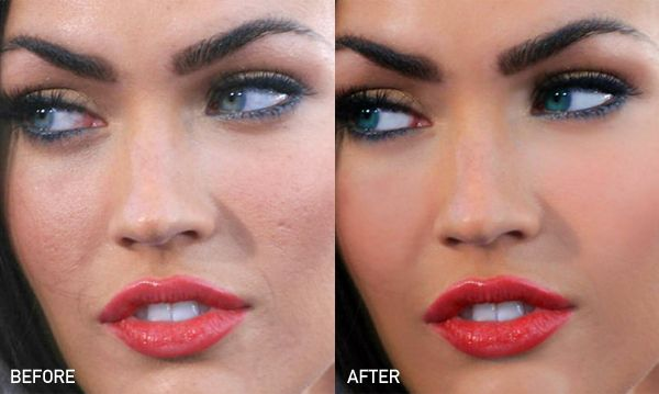 Megan Fox | 23 Celebrities Before & After Photoshop  Acne scars. Thanks for making the rest of us feel like we need bags over our heads while you simply brush away the imperfections and act like its all you. %}& Hollywood.
