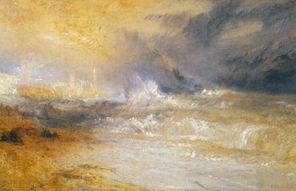風下の海岸で砕ける波、マーゲイト(「烽火と蒼光」のための習作) /ターナー(英)