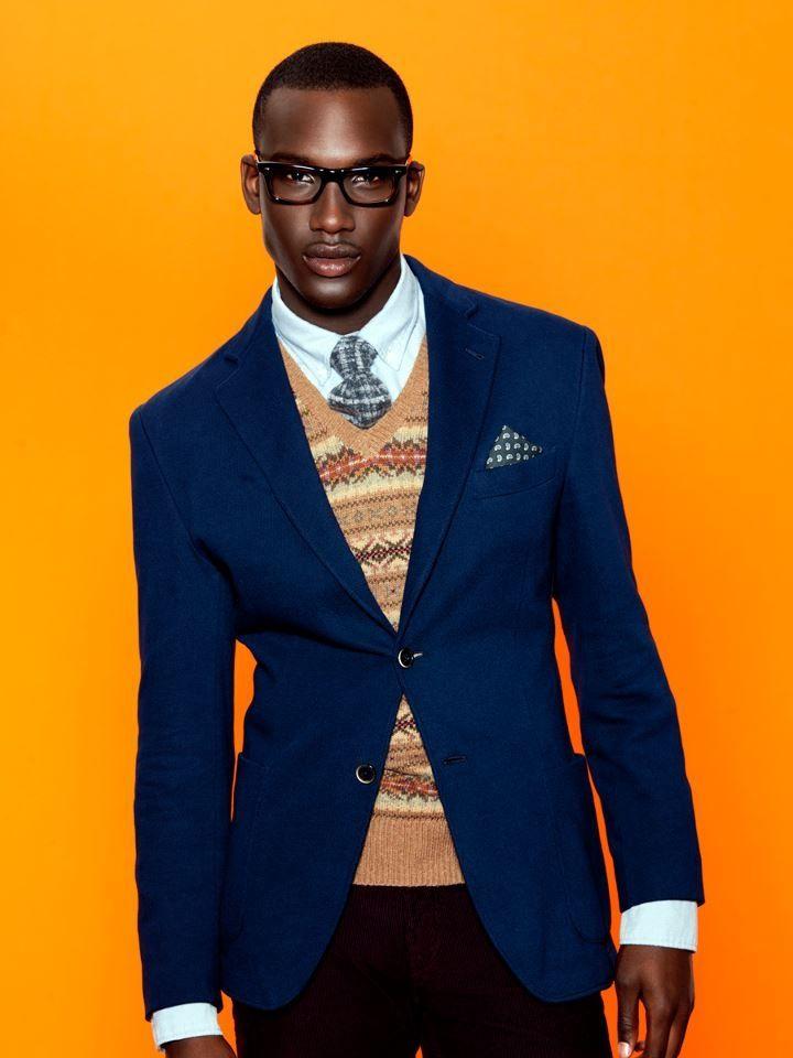 Blazing Midnight Blue. Orange sweater. Fresh men's fashion daily... follow http://pinterest.com/pmartinza
