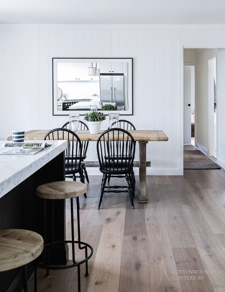 Modern farmhouse table with black windsor chairs cottonwood interiors photo by maree homer
