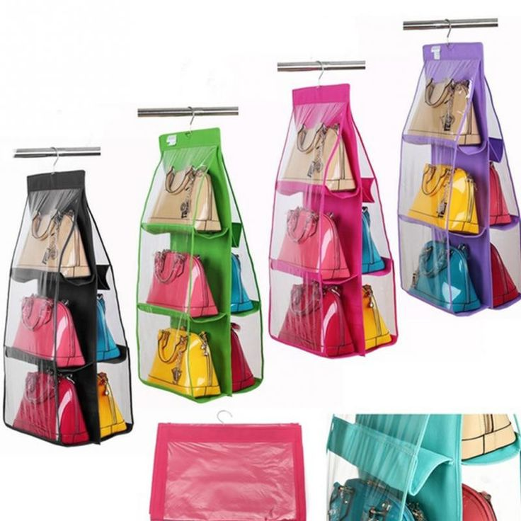 6 Pockets Hanging Storage Bag Purse Handbag Tote Bag Storage Organizer  Closet Rack