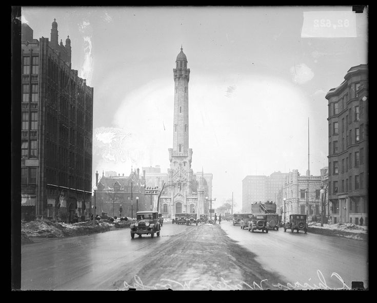 Michigan Avenue and the Chicago Water Tower, Chicago, Illinois, 1927. Photograph by Chicago Daily News.