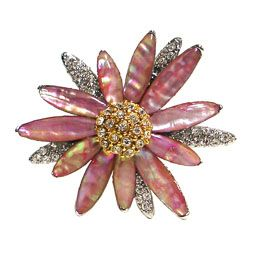 Mother of Pearl Pink Sunflower Brooch